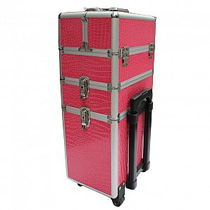 Custom Cosmetic Case with Trolley / Makeup Train Case